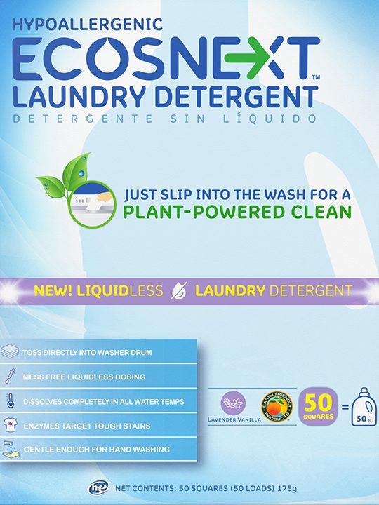 ECOSNext Απορρυπαντικό Ρούχων Σε Φύλλα - Λεβάντα και Βανίλια - 50 Πλύσεις